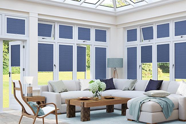 Blue conservatory blinds