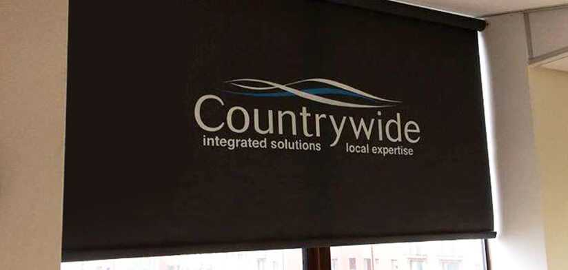 Commercial blinds with branding