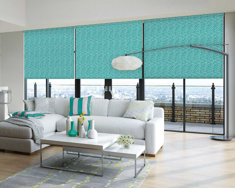 Turquoise electric roller blinds