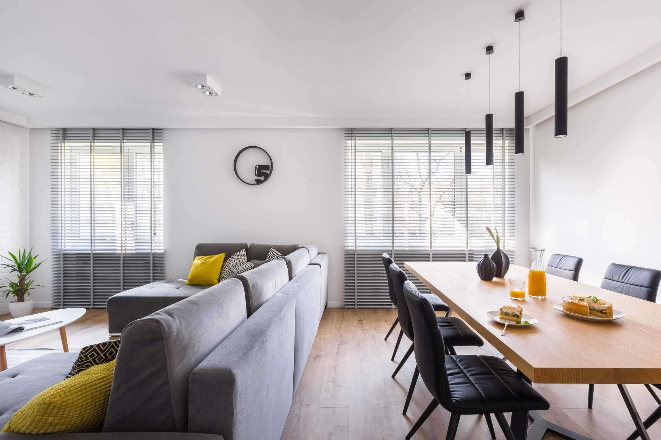 Venetian blinds in modern living room